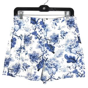 Zara Woman blue white floral high rise zip short M